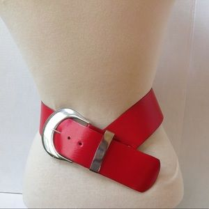 NEW Vintage RED Hot Leather Silver Buckle Belt